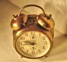 Antique Vintage German Jerger Alarm Clock Antique Brass Finish  1950s on Etsy, Sold