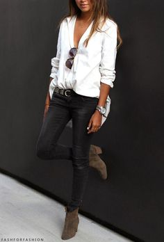 button down, leather pants, booties