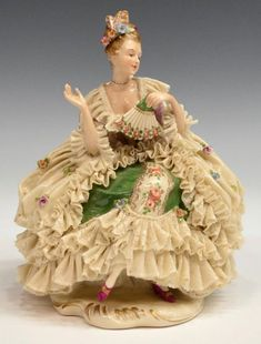German Dresden and Dresden type ballerina figures, with lace dresses and applied flowers, mid c. from 3 on Oct 2014 Porcelain Jewelry, Porcelain Ceramics, China Porcelain, Painted Porcelain, Hand Painted, Victorian Dolls, Vintage Dolls, Shabi Chic, Dresden Dolls