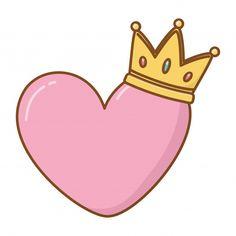 Corazón y corona Vector Premium Cute Easy Drawings, Cute Kawaii Drawings, Corona Vector, Creative Birthday Cards, Baby Birthday Card, Aesthetic Stickers, Instagram Highlight Icons, Scrapbook Stickers, Cute Stickers