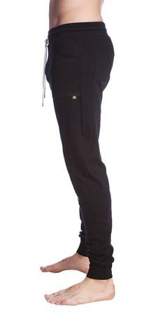 Long Cuffed Perfection Yoga Pants for men (Black) | Made in USA!