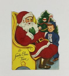 Little Boy & Fuzzy Flocked Santa Vintage by ChinaBooksCardsnMore