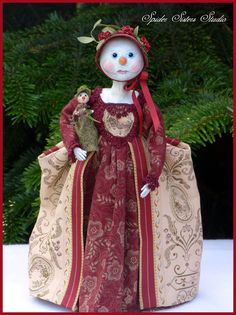 Handcrafted Primitive Queen Anne Snowlady & by SpiderSistersStudio