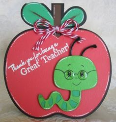 """Recipe: """"Create A Critter Cricut"""" cartridge for the apple (the shadows were welded together on the Gypsy) & worm (use """"hide contour"""" feature to get rid of face) - Scrappy Moms Stamps: """"School Days"""" - Peachy Keen Stamps: Simple Sallies"""" - Cherry Re Thank U Cards, Teacher Thank You Cards, Teacher Appreciation Gifts, Teacher Gifts, Art For Kids, Crafts For Kids, Peachy Keen Stamps, Tarjetas Diy, Create A Critter"""