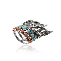 Anillo con plumas y piedras en plata de ley