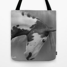 Painted Horse B&W Tote Bag by Horseaholic - $22.00
