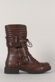 Dollhouse Fight Buckle Zipper Military Lace Up Mid Calf Boot