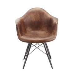 The Mercer armchairs are a slightly more luxe rethink of the midcentury classic Eames shell chair. Normally made out of fiberglass or molded plastic, this still has the shell chair shape, but instead is made of a wood frame fully wrapped (both front and back) in black or brown leather.