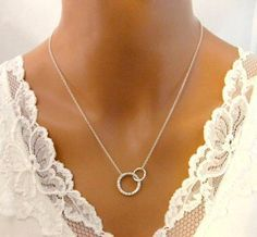 Mother Daughter Necklace Son Child Double Circle Silver Eternity Jewelry