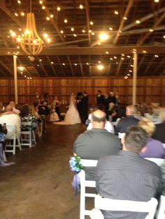 Ceremony inside the barn