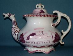 Unattributed duck neck spout pink lustre decoration English earthenware  C.1835,