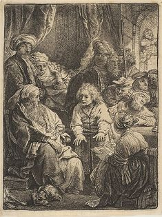 Rembrandt, Joseph telling his dreams, 1638. Etching; third state