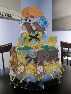 There's no Ark but all the animals wanted on this diaper cake!  Noah's Ark Baby Shower