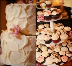 Rustic cake design with cupcakes!