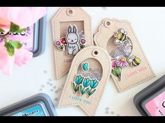 Mini shaker tags with stamped due cuts and Prisma pencil coloring ~ demo by Little Crafty Pill - so detailed and darling! Atc Cards, Card Tags, Gift Tags, Karten Diy, Handmade Tags, Distress Oxides, Shaker Cards, Copics, Prismacolor