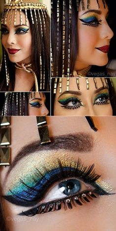 Cleopatra Makeup, Egyptian Makeup, Egyptian Costume, Cleopatra Costume, Egyptian Eye, Cleopatra Halloween, Egyptian Jewelry, Egyptian Queen, Visage Halloween