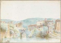 Vista de Tivoli. Sem data. Aquarela com lápis. Alexis Nicolas Pérignon, o Velho (Nancy, França, 1726 - 1782, Paris, França).