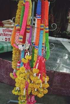 Thai flower garlands (Thai: Phuang Malai) are bought for different purposes, such as for good luck, safety, or for offerings at Buddhist shrines and temples. #HOFLuckyCharms