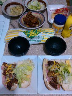 En el proceso de planear la cena. Sandwich de Macitas de Cerdo encebollado con queso de bola en Pan Sobao. (Sautéed pork and yellow onions , Edam cheese sandwich in Puerto Rican Sobao Bread).