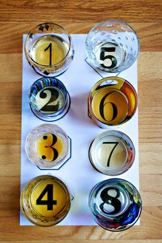 Tasting Idea. Mismatched tumblers, different fonts. The expert says no more than 4-5 tastings