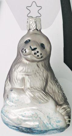Inge Glas2005 #Christbaumschmuck#Robbe#aus dem Hause Inge Glas.Weihnachtsbaumschmuck made in Germany mundgeblasen und von Hand bemalt bei www.gartenschaetze-online.de