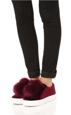 Sam Edelman Leya Velvet Pom Pom Sneaker, $100