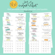 new freebie! 2015 monthly printable calendars | www.livecrafteat.com