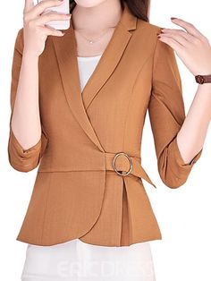 Office Notch Lapel Brooch Plain Blazer in 2020 Blazer Outfits, Chic Outfits, Fashion Outfits, Hijab Fashion, Dope Fashion, Fashion Looks, Coats For Women, Jackets For Women, Fancy Tops