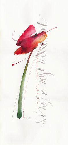 Gisella Biondani Fiore Rosso Watercolor and calligraphy