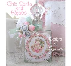 Beautiful Bejeweled Bottle 84 Pink Santa Rose Wreath Hand Embellished Originals By Lynn-pink, roses, shabby, chic, ruffles, Victorian, Vintage, Lynn, Barkcloth, PINK, cottage, white, Brundage,bottle