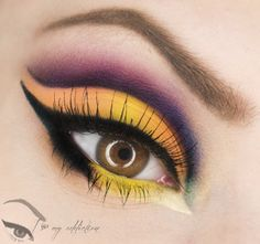 Yellow and purple cut crease #eyes #eye #makeup #bright #bold #dramatic