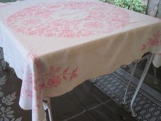 vintage 1950s PINK & WHITE Hand Embroidered / Cross Stitched TABLECLOTH - 49 inch square  The most beautiful tablecloth I've ever seen
