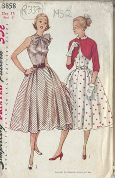 "1952 Vintage Sewing Pattern B31"" DRESS & BOLERO JACKET (R337) 