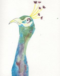 """An archival print of my original """"Pretty Peacock"""" 5 x 7 $8 8 X 10 $10 Available here:https://www.etsy.com/listing/219485091/pretty-peacock-watercolor-print-wall-art?ref=shop_home_feat_2"""