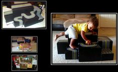 a stepper/climber for my son because he LOVES to climb inside the house, this was a solution to purchasing a pre-made 250.00 dollar climber. And now he can use his cars on it :)  1.) upcycled diaper boxes hot glued together and sealed at the seems 2.) reinforced to support lots of climbing  3.) painted with roads  4.) tape and mod podge for rounding edges and sealing paint