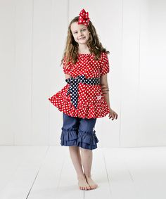 Take a look at the RuffleGirl Red Polka Dot Ruffle Top Set - Infant, Toddler & Girls on #zulily today!