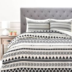 Allyson Johnson Black And White Aztec Pattern Duvet Cover | DENY Designs Home Accessories