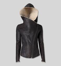 Helmut Lang Shearling Hooded Jacket