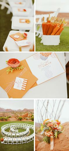 Swoon-worthy only begins to describe how much I love this style shoot. Not only is it using THE color of the year, Tangerine Tango, but the setting is stunning and romantic. The color palette is a direct compliment to the red stone mountains and arid landscape.  The florals combined with white china and vases create a whimsical modern …