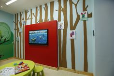 Charming Contemporary Kids Room Design Interior with Modern TV on the Wall Ideas with Cute Wallpaper Ideas