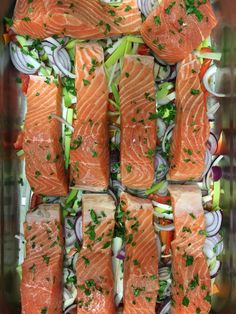 Salmon in a colourful bed of veggies
