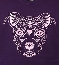 Sugar Skull Pitbull T-Shirt by EnchantedCreationsWE on Etsy Sugar Skull Tattoos, Sugar Skull Art, Pit Bull Love, Future Tattoos, Dog Art, Body Art Tattoos, Crane, Dog Love, Pitbulls