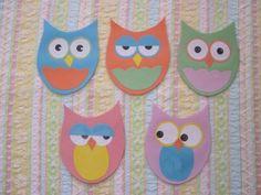 Flannel Rhyme: 5 Little Hoot Owls w/ template