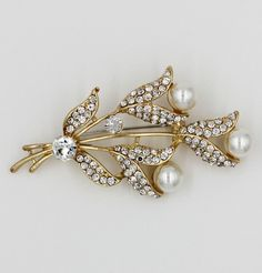 Turkish Jeweled Brooch Tulip Bouquet with Faux Pearls