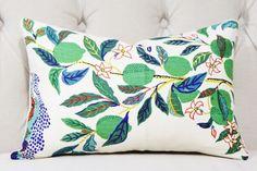 Schumacher Designer Linen Pillow Cover - Citrus Garden Floral Lumbar Pillow Cover - Blue Green and Yellow - Botanical Pillow