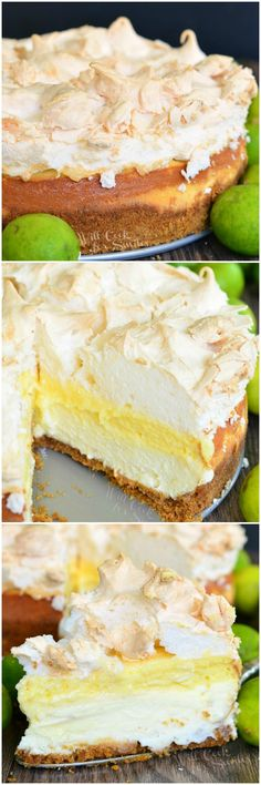 Key Lime Pie Cheesecake. A layer of smooth cheesecake, a layer of key lime pie and all topped with meringue for a perfect sweet and sour balance.