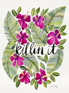 Killin' It – Tropical Pink Art Print - the perfect way to combine inspiration with tropical designs. Pink Laptop, Laptop Skin, No Rain, Pink Art, Blue Art, Pink Walls, Canvas Prints, Art Prints, Pretty Words