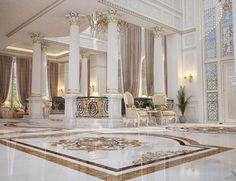 Main Entrance Hall design for a private villa at Doha,Qatar