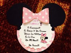 Invitaciones de minnie fáciles de hacer :)