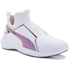 PUMA Rebel Mid Swan Women's Sneakers ($75) ❤ liked on Polyvore featuring shoes, sneakers, white, round cap, lace up sneakers, white lace up shoes, round toe shoes and white mesh shoes